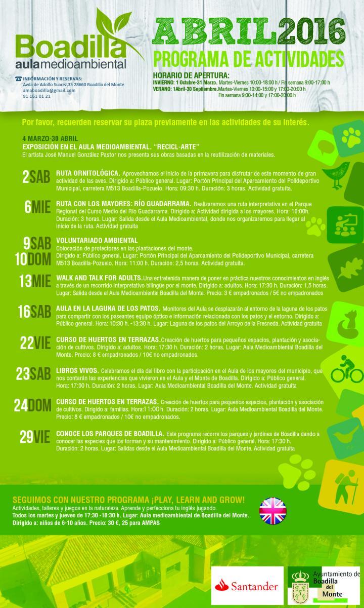 Programación aula medioambiental Boadilla abril