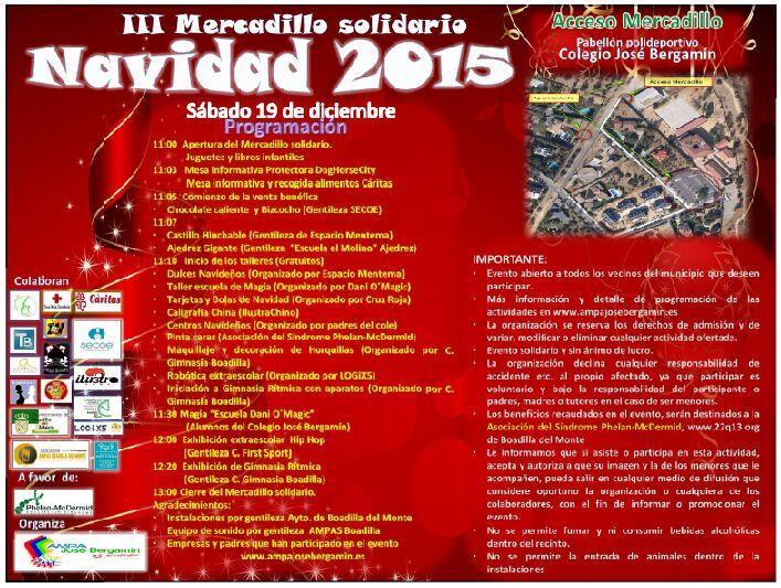 Programa del III Mercadillo Solidario de Boadilla del Monte