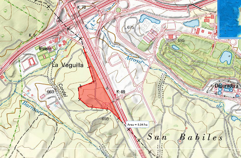 Mapa de Boadilla con el Cerro de San Babilés