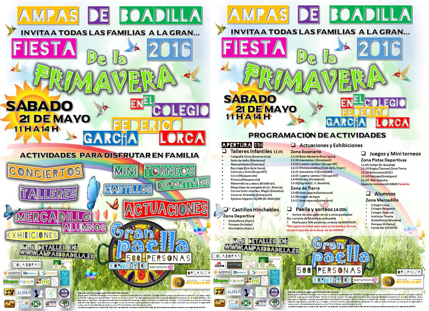 Cartel y programa fiesta primavera. Presentación tarjeta AMPAS 2016