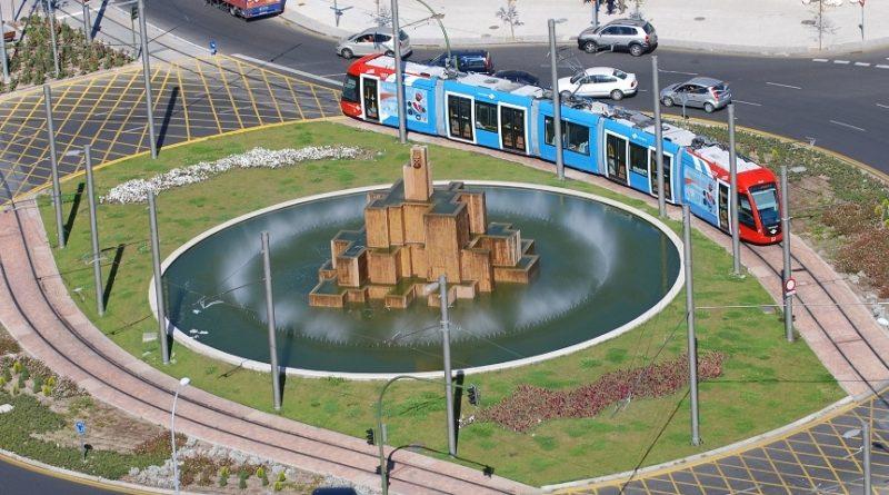 Metro Ligero en rotonda de Boadilla