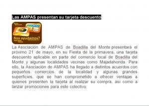 Tarjeta para socios de las AMPAS de Boadilla