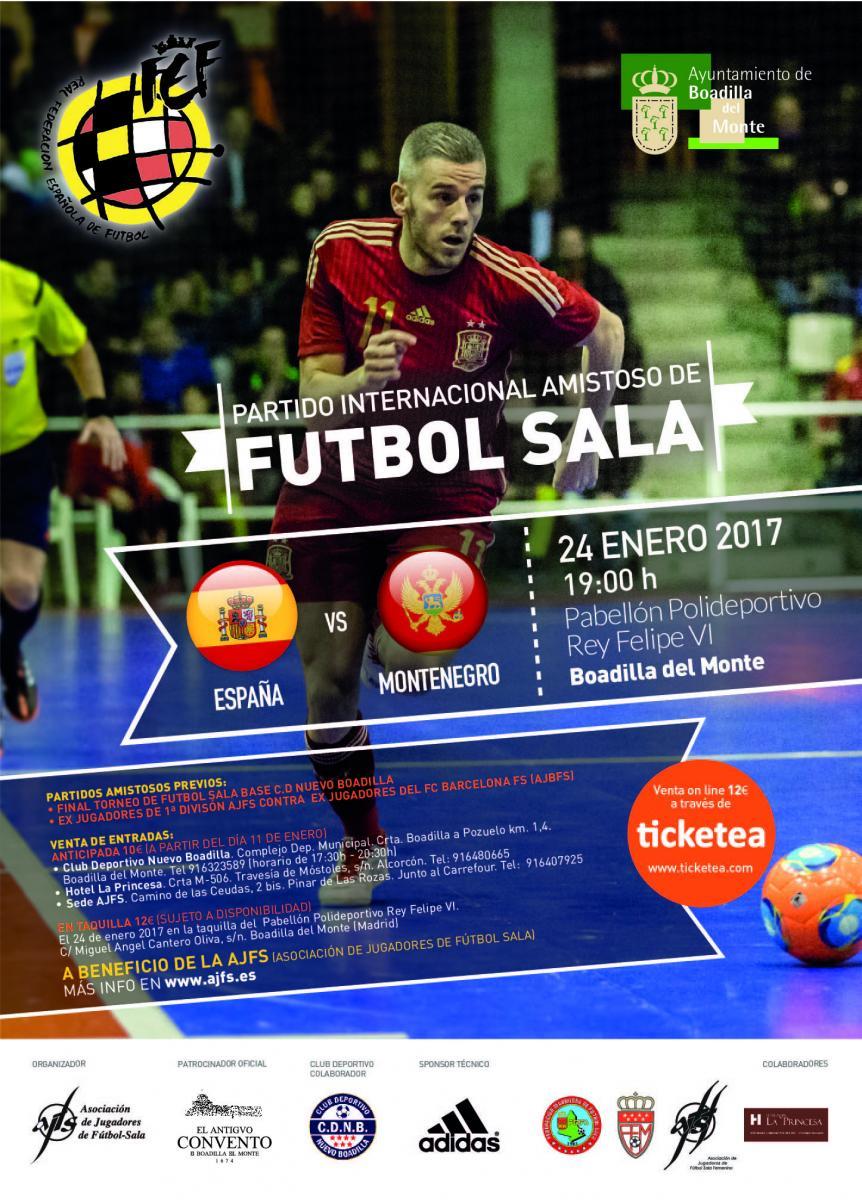 Fútbol sala: España - Montenegro @ Pabellón deportivo Rey Felipe VI   Boadilla del Monte   Comunidad de Madrid   España