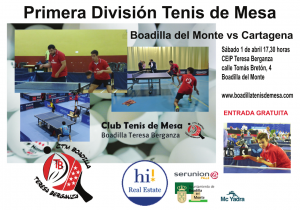 partido de ping pong Boadilla vs Cartagena