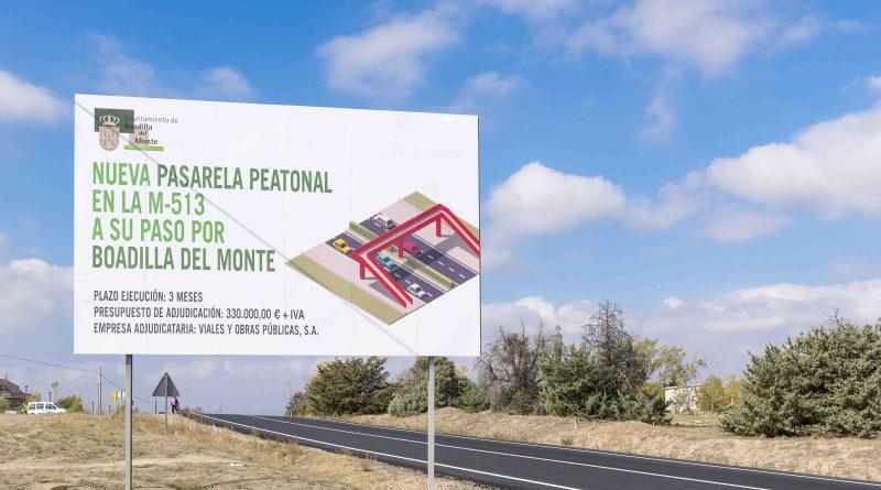 Obras de la tercera pasarela peatonal en Boadilla