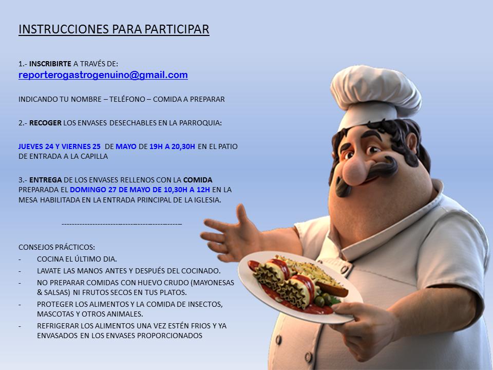 instrucciones para participar en la jornada gastronómica solidaria