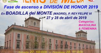 Cartel Fase de ascenso Divisiòn de Honor Tenis de Mesa 2019