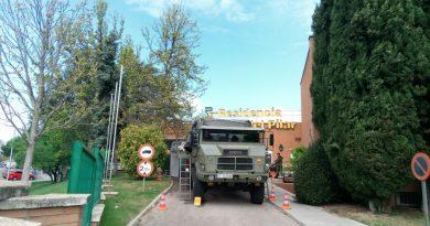 Teleboadilla. La Unidad Militar de Emergencias desinfecta la residencia Virgen del Pilar de Boadilla