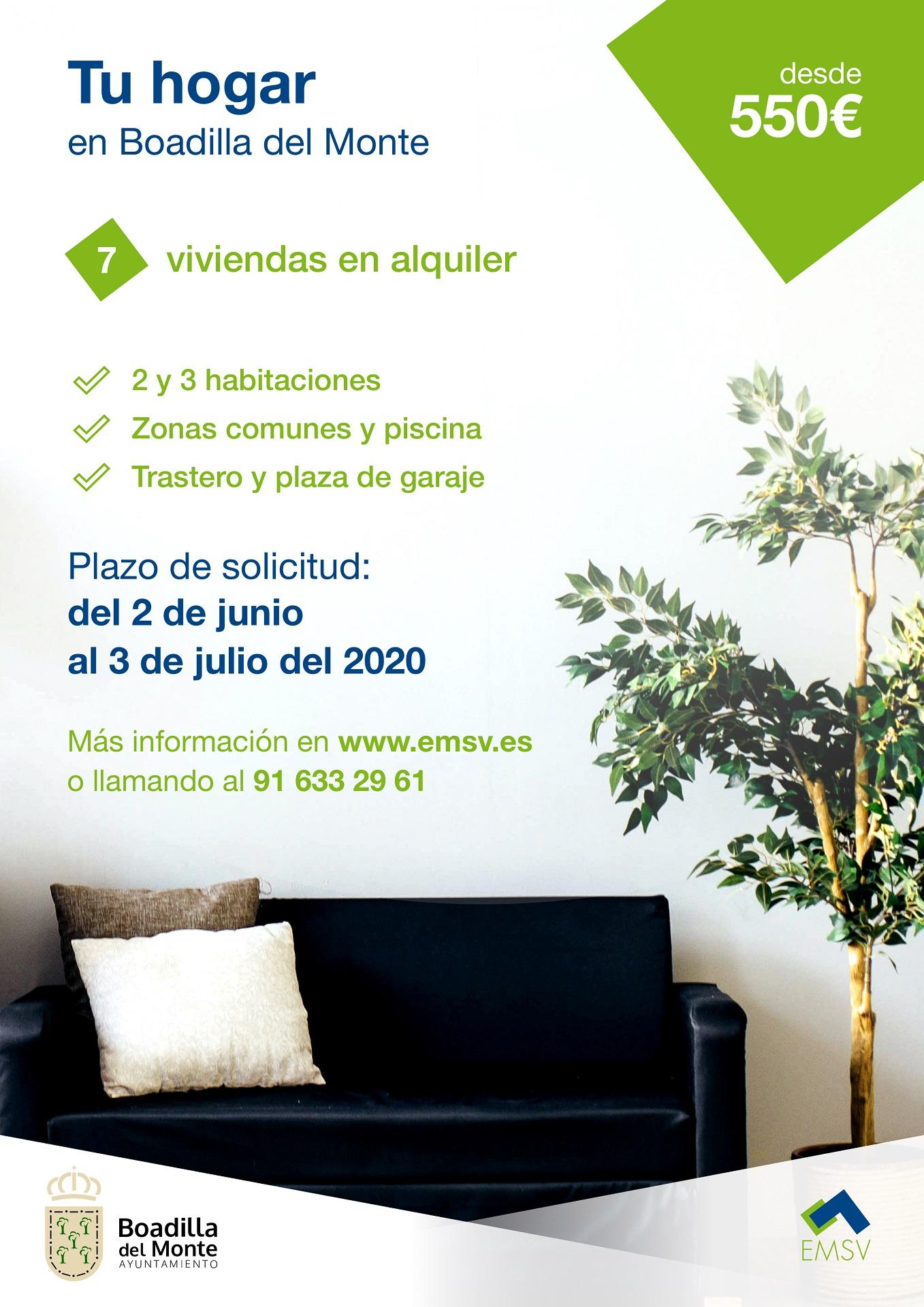 Teleboadilla. Siete (7) viviendas en alquiler en Boadilla de la EMSV en 2020