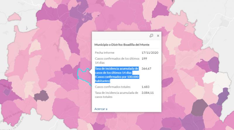 Teleboadilla. Incidencia del Coronavirus en Boadilla del Monte a 17 de noviembre de 2020