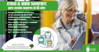 Teleboadilla. Ayudas abono transporte para mayores de 65 años