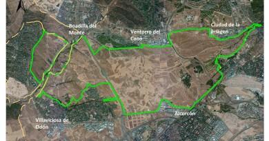 Mapa del Corredor Verde propuesto por el Grupo Mixto de Boadilla