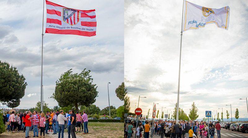 Banderas del Atleti y del Madrid en las rotondas de Boadilla