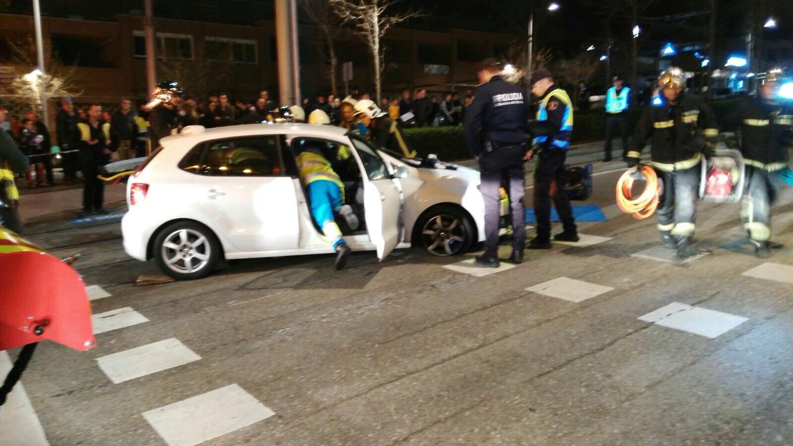 Accidente de un coche con el Metro Ligero Oeste en Boadilla del Monte
