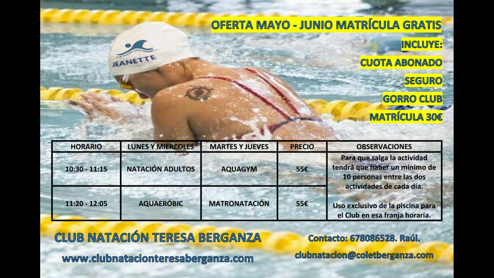 Actividades del Club de Natación Teresa Berganza