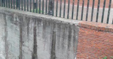 Filtraciones muro en calle convento con PLaza de la Cruz