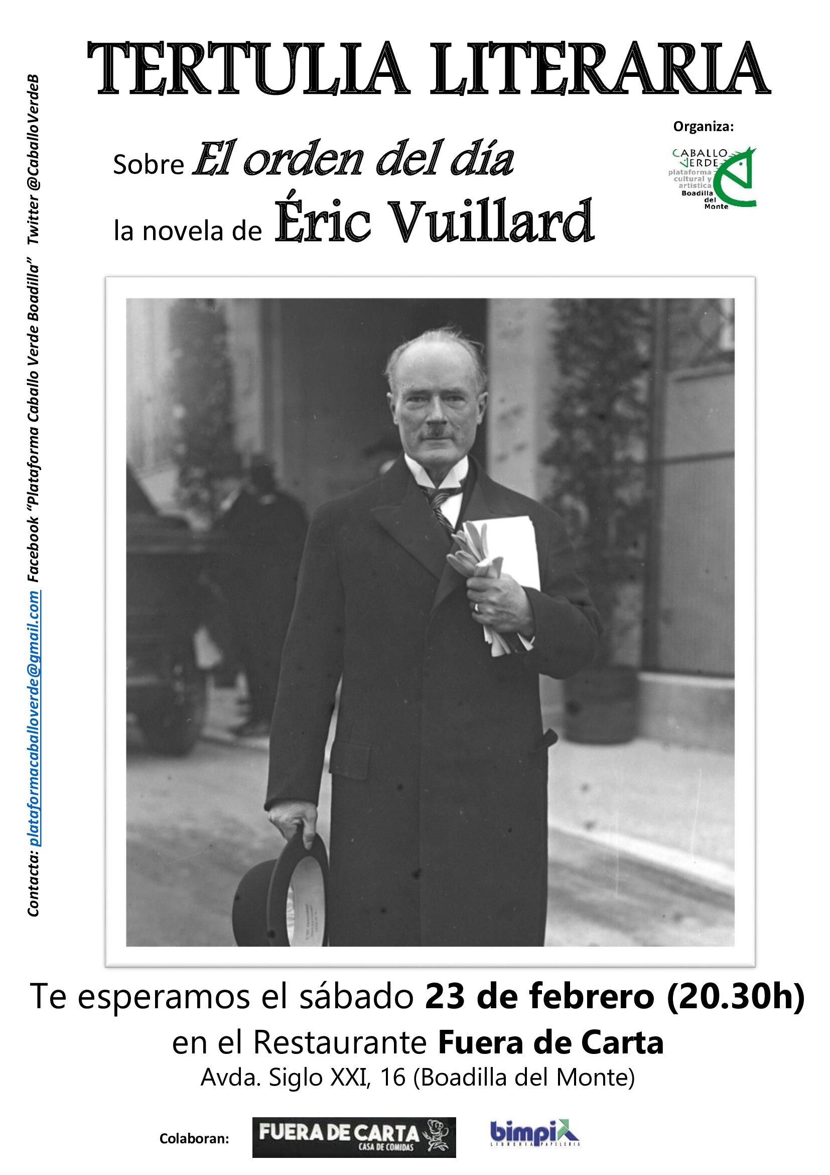 Tertulia literaria Caballo Verde Éric Vuillard