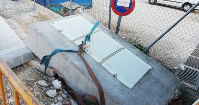 Teleboadilla. Obras de aparcamiento del Centro de Salud Infante Don Luis De Borbóny Centro de Mayores de la calle Secundino Suazo, bloque hormigón