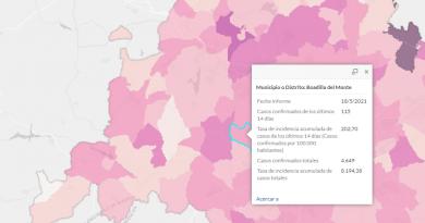Teleboadilla. Mapa Incidencia Covid Comunidad de Madrid a 18 de mayo 2021